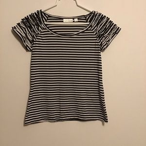 Stripped top with short ruffled sleeves.